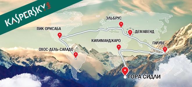 Экспедиция 7 вулканов Лаборатории Касперского - карта