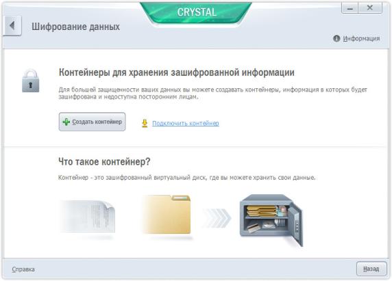 Шифрованный контейнер в Kaspersky CRYSTAL