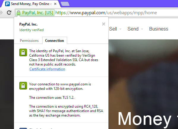 Сертификат на сайте PayPal