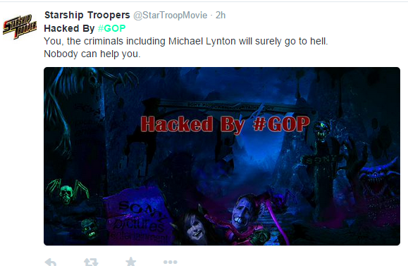 Sony pictures hacked by GOP