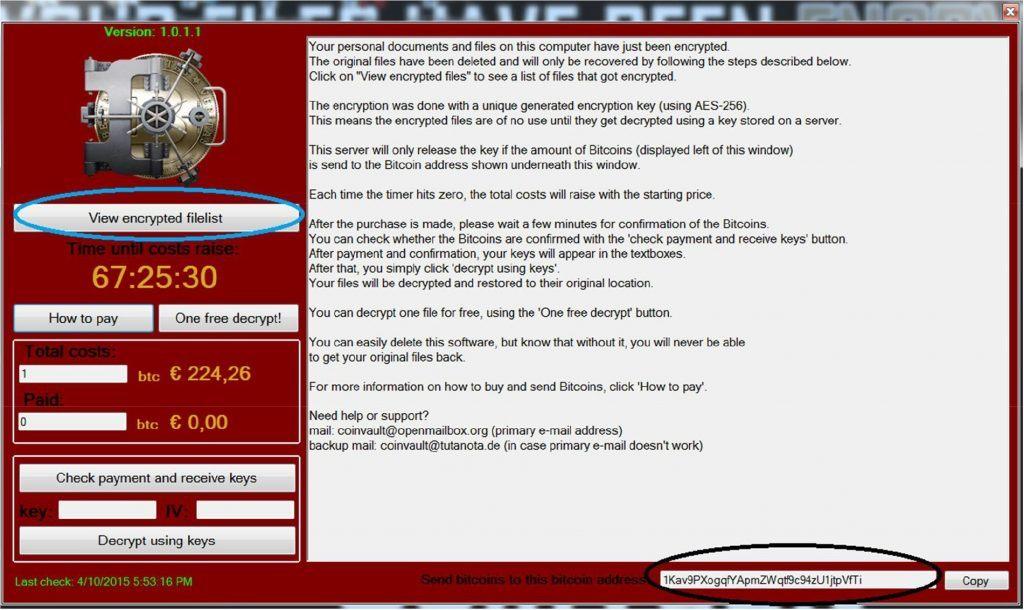 Как избавиться от шифровальщика CoinVault и восстановить свои файлы