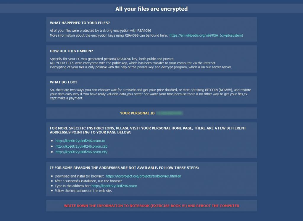 Формулировки с требованием выкупа различаются в зависимости от версии трояна CryptXXX, но обычно они выглядят как-то так.