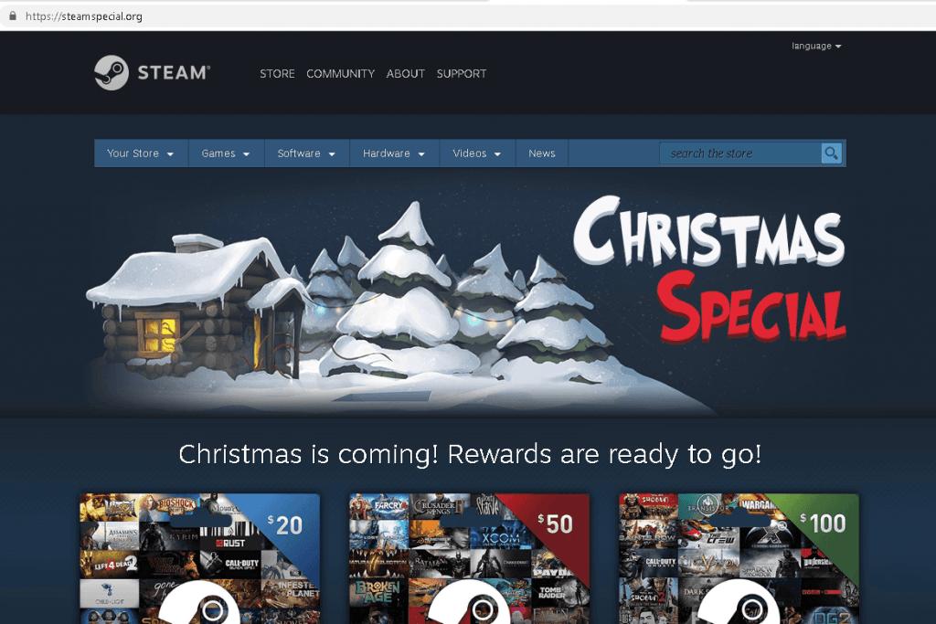 Поддельный сайт игрового онлайн-магазина Steam
