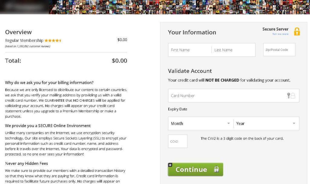 После регистрации мошеннический сайт просит ввести данные банковской карты