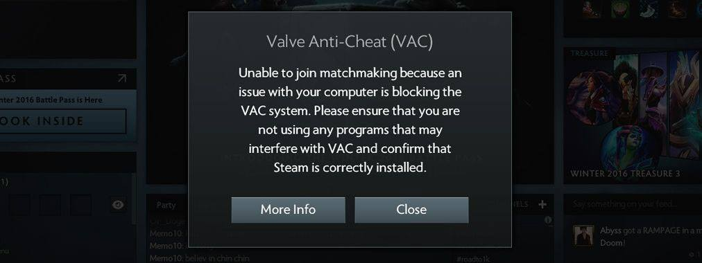 Valve Anti-Cheat отслеживает запущенные программы. Если система обнаружит процессы PowerShell, Sandboxie, Cheat Engine или других утилит из запрещенного списка, пользователь не сможет присоединиться к онлайн-матчам