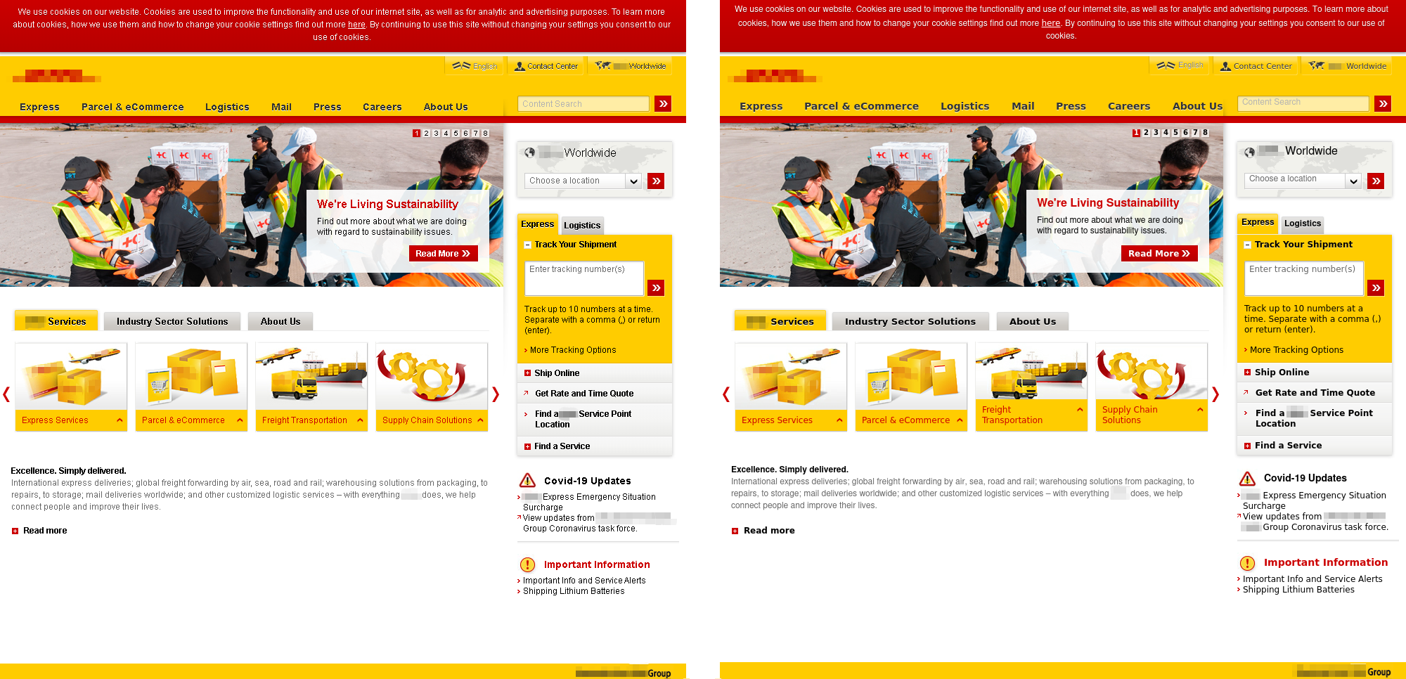 Настоящая заглавная страница сайта службы доставки (слева) и фишинговый ресурс, который ее имитирует (справа)