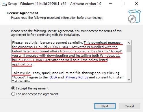 Злоумышленники распространяют некий исполняемый файл под названием 86307_windows 11 build 21996.1 x64 + activator.exe