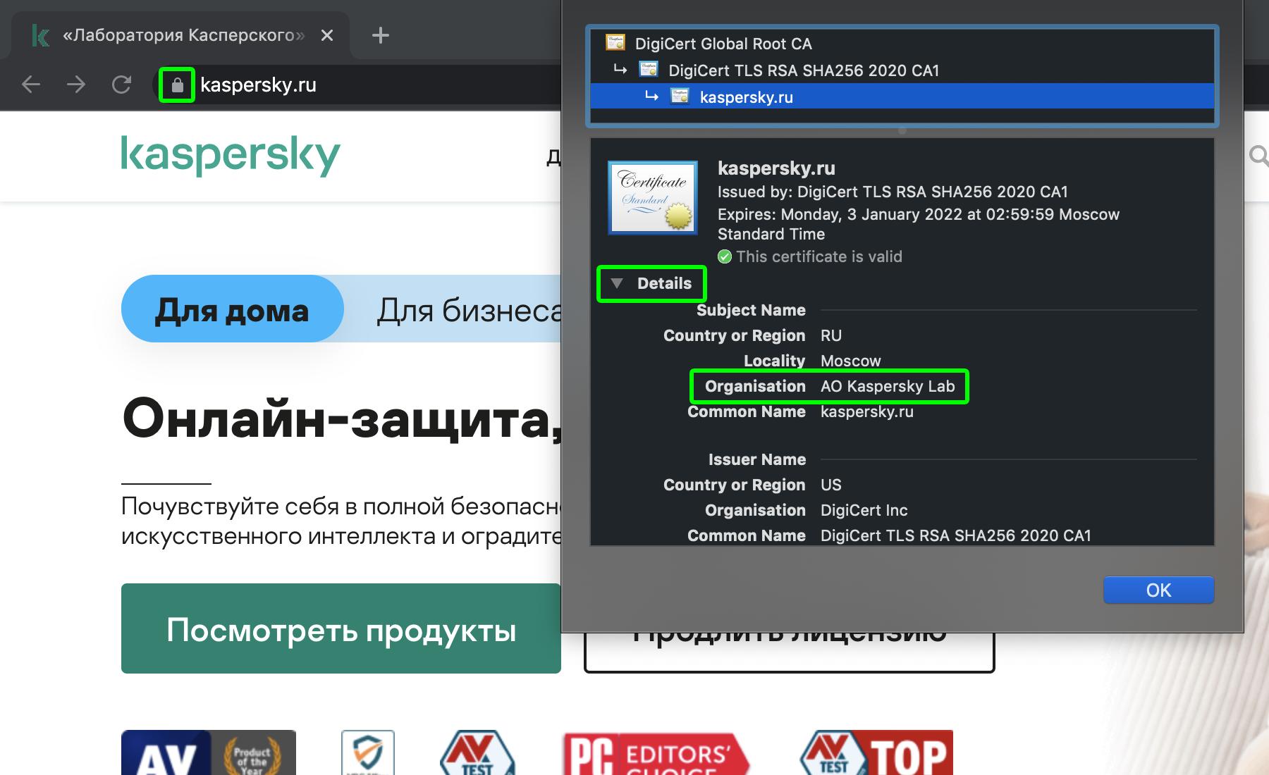 Как можно проверить, кому принадлежит сайт — посмотрите данные SSL-сертификата