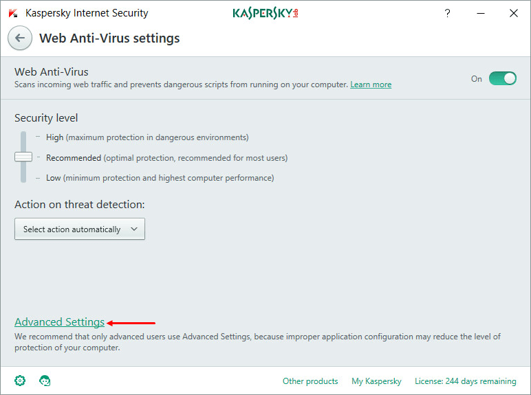 In the Web Anti-Virus settings window, select Advanced Settings