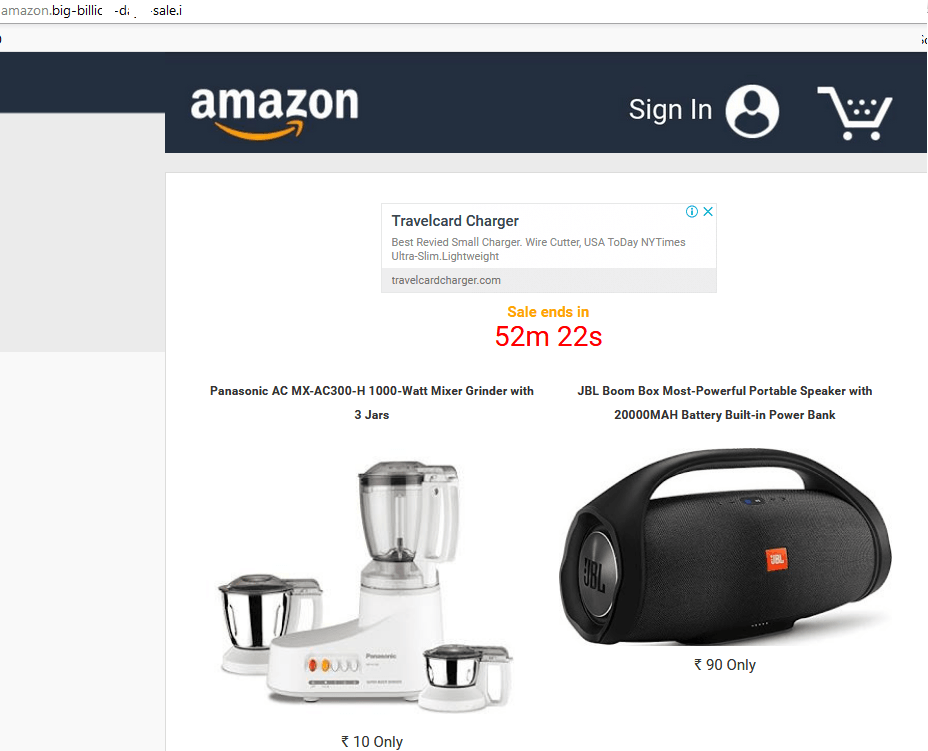 Fraudulent site supposedly offering Amazon sell-offs
