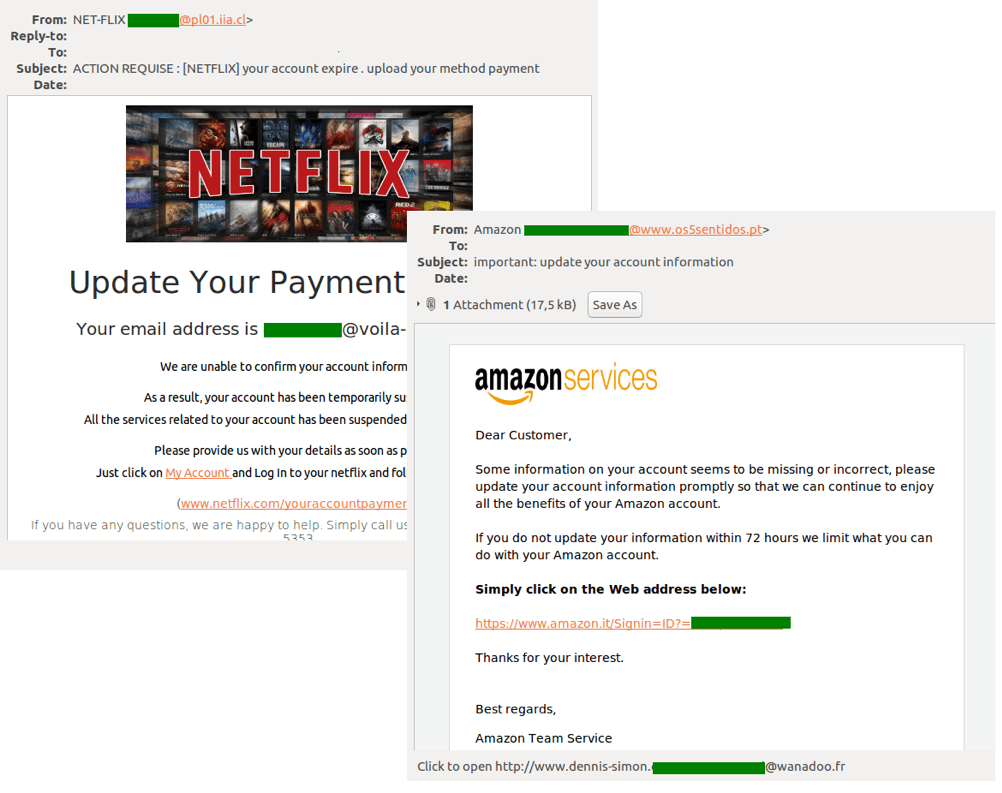 Phishers most popular tricks: Fake notifications from various services and shops
