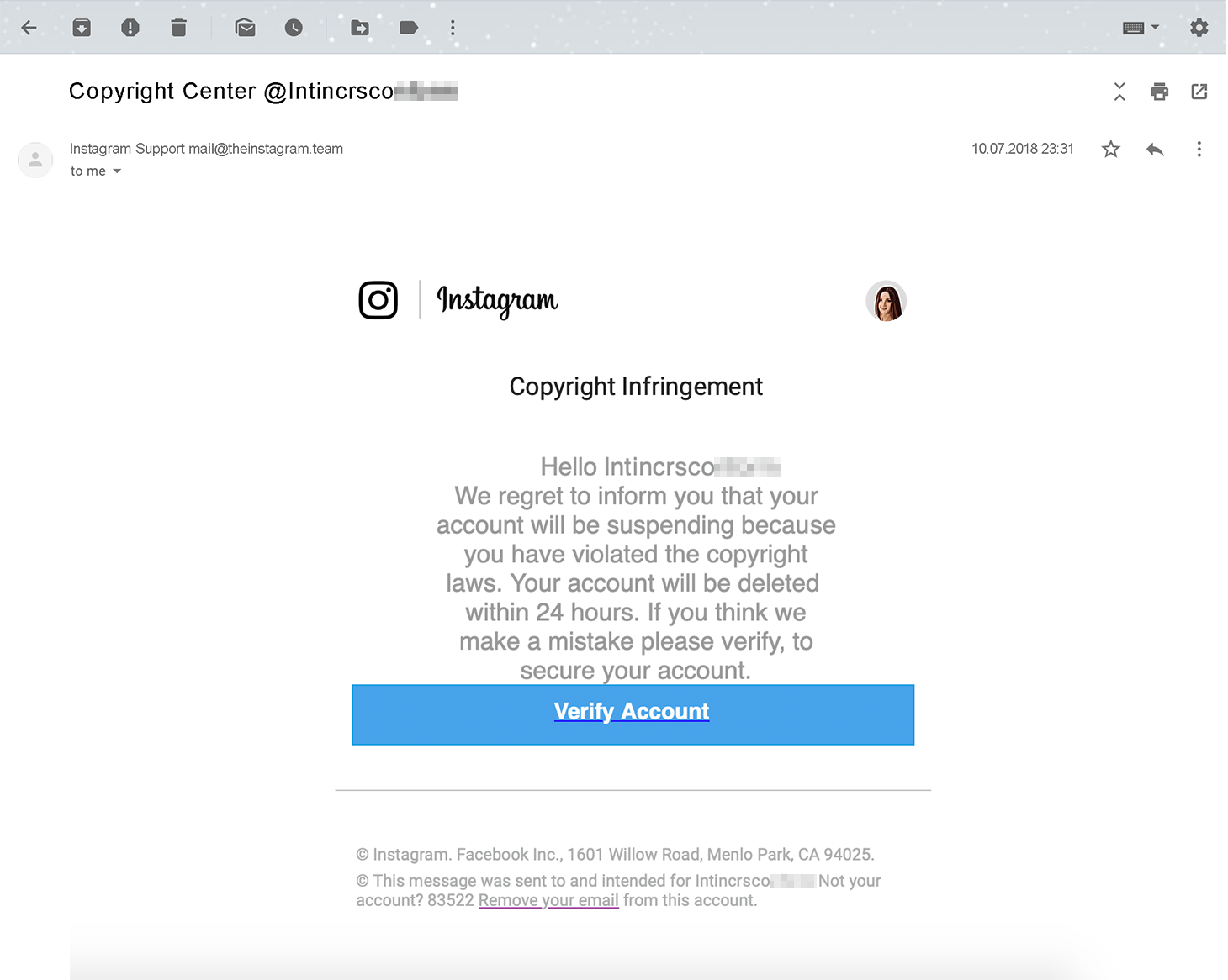 A screenshot of phishing e-mail with fake copyright infringement notification on Instagram