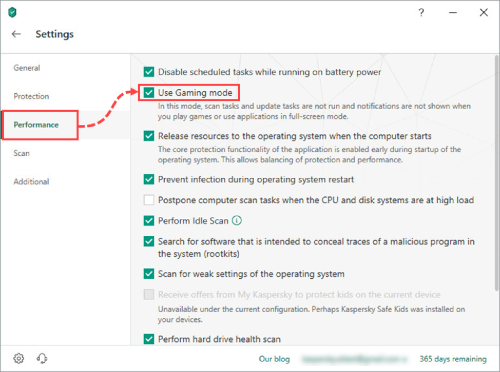 Make sure that Gaming mode in your Kaspersky Internet Security or Kaspersky Security Cloud is turned on, minimizing the security solution's impact on performance