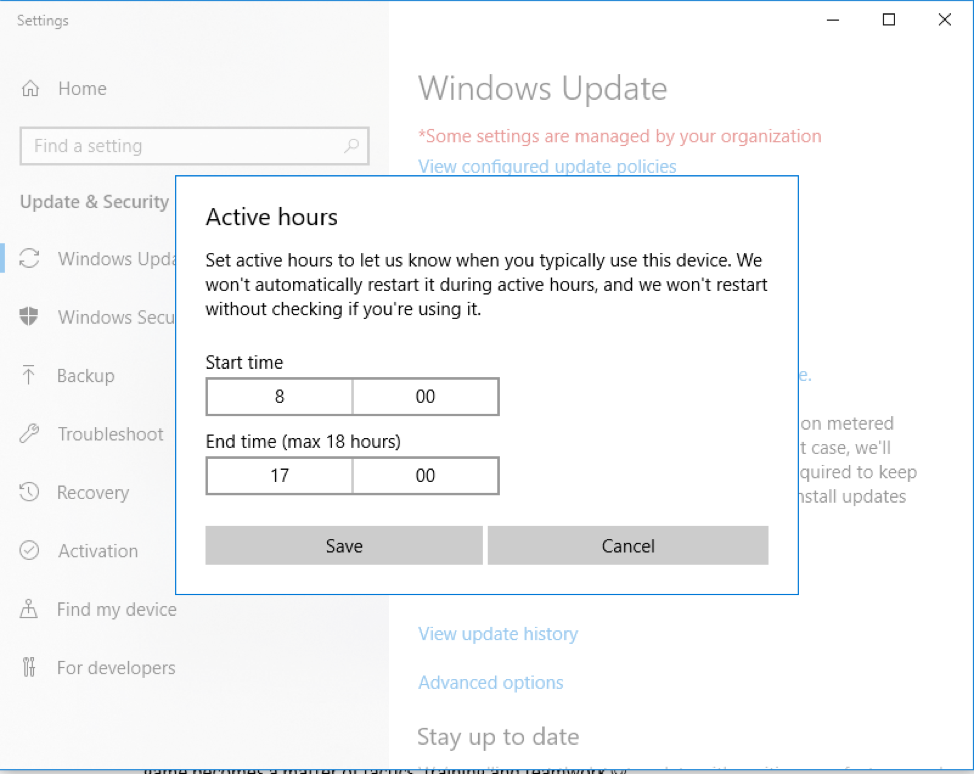 Specify the hours when Windows Update should not be running so that it doesn't affect gaming performance