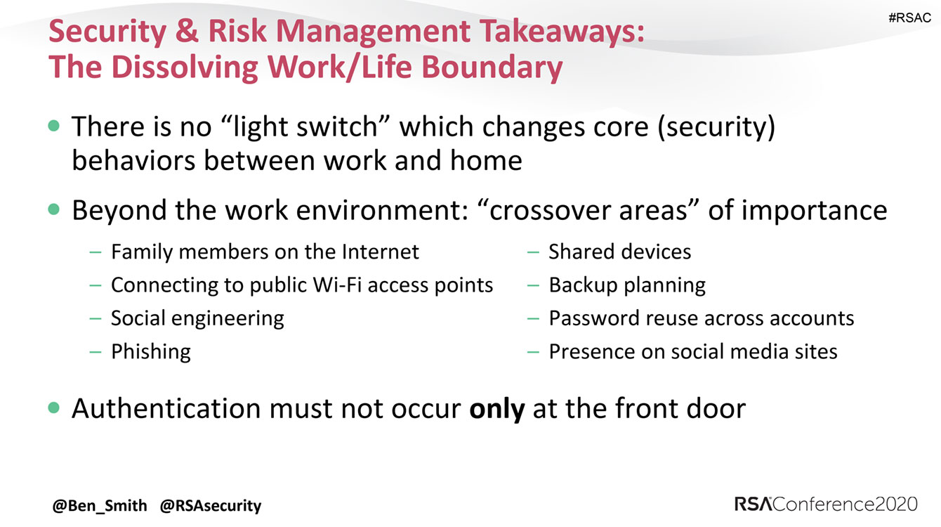 Security and risk management takeaways: The dissolving work/life boundary