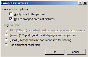 Use the Compress Pictures tool to remove sensitive information