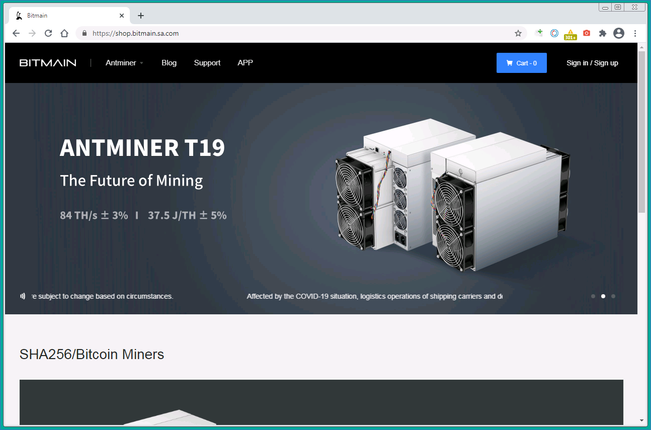 Fake Bitmain site with Antminer S19j ad