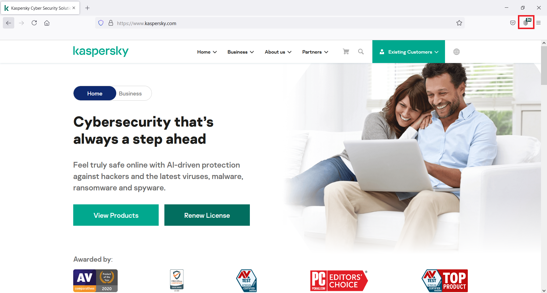 If you have the Kaspersky Protection extension installed, its icon should appear on your browser navigation bar