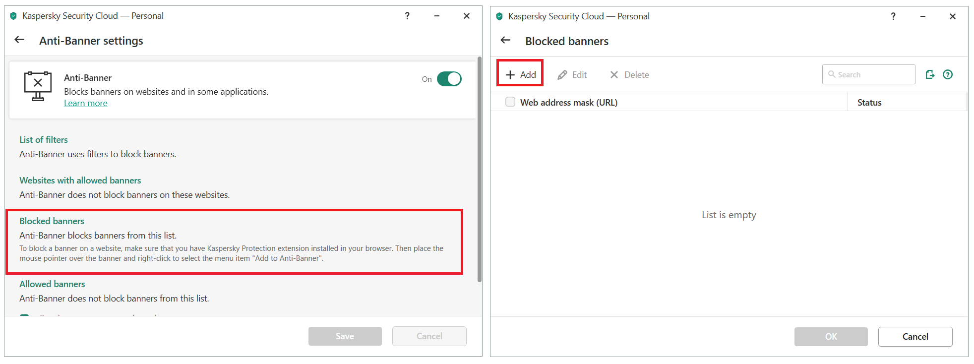 Adding a banner to the blocklist in Kaspersky Security Cloud