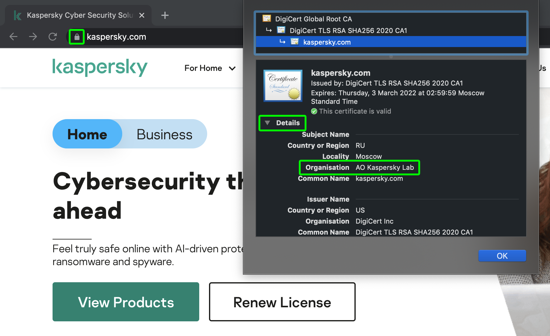 How to check who owns the website: Look at SSL-certificate details