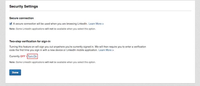 LinkedIn Security Settings