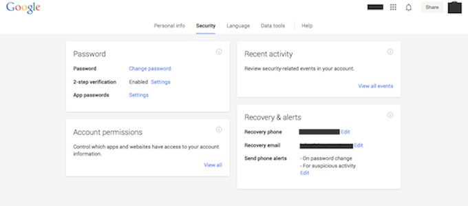 Google security 2-factor