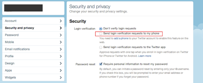 Twitter 2FA Security