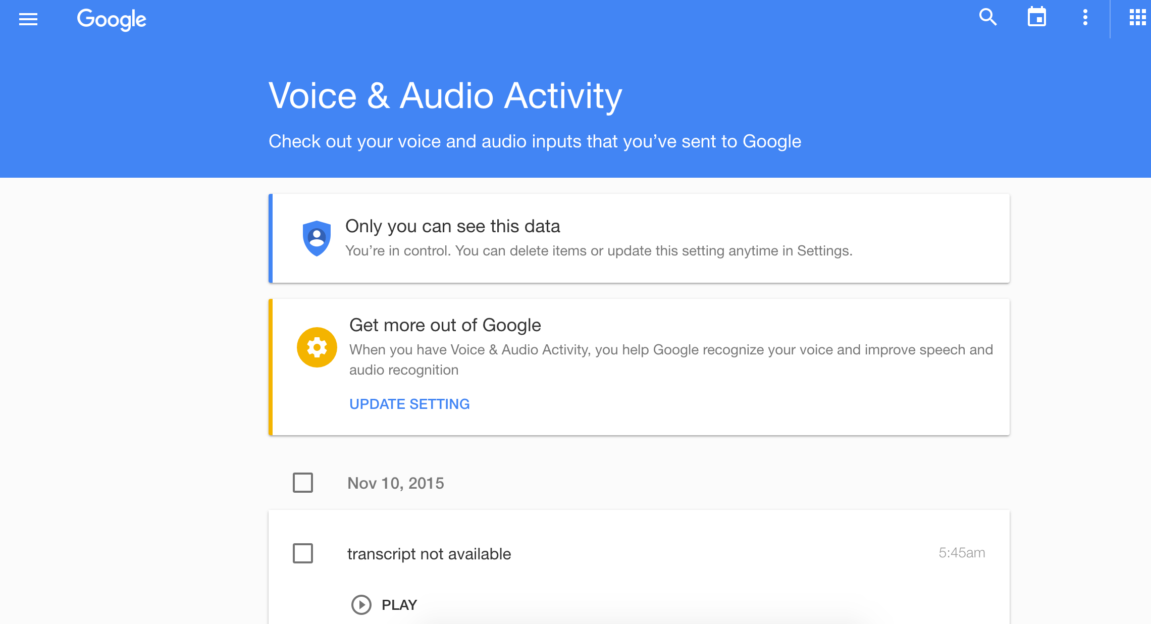 Google: voice search history