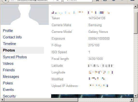 Metadata in the Facebook user profile archive