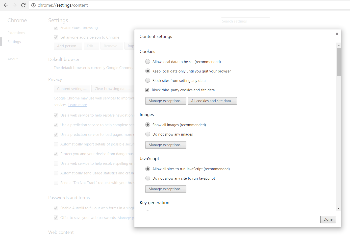 Control cookies in Google Chrome