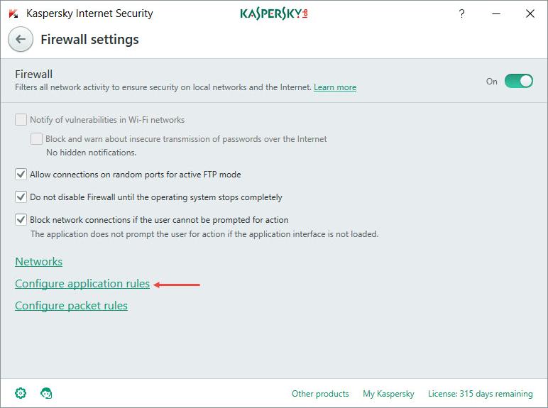 Configure rules in Kaspersky Internet Security