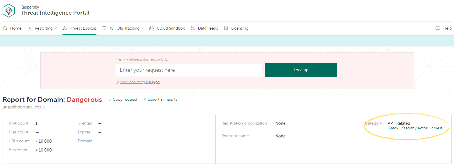 Report for domain