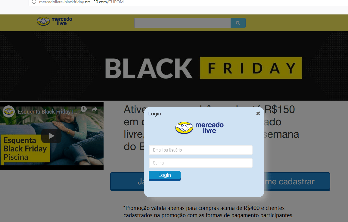 Phishing attack on users of Mercado Livre — a popular marketplace in Latin America
