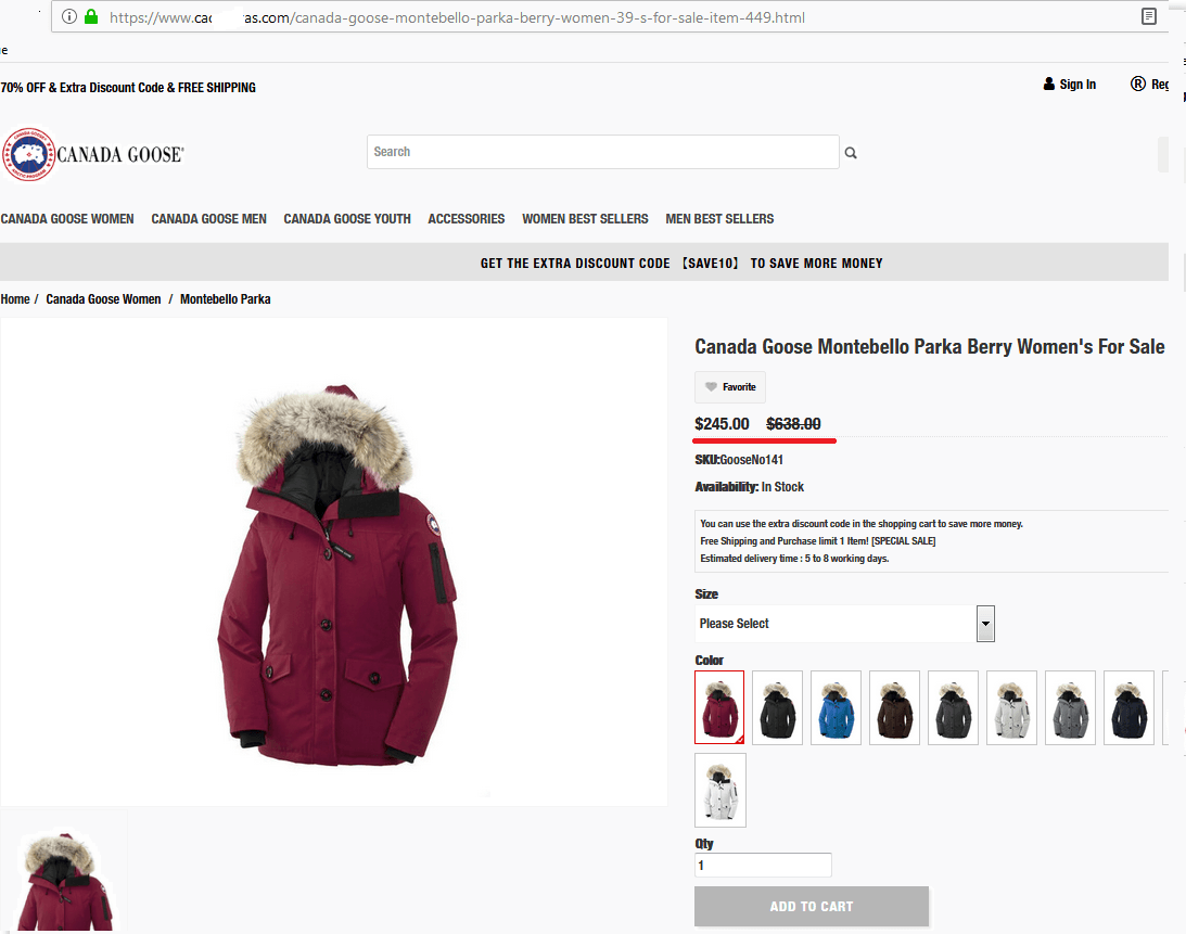 Phishing offer for a warm winter jacket from a popular brand at a crazy discount