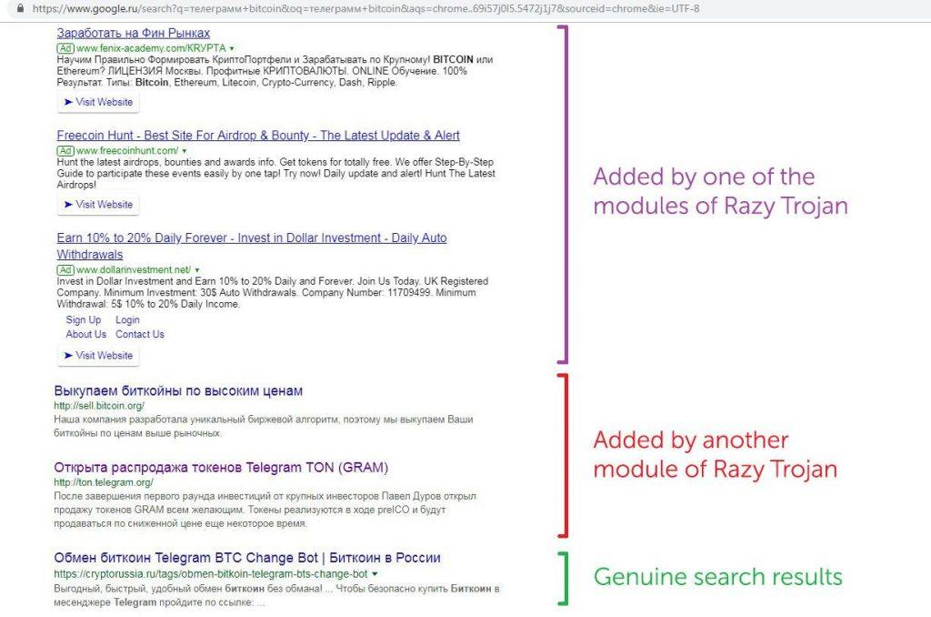 The Razy Trojan adds phishing links to search results — a lot of phishing links