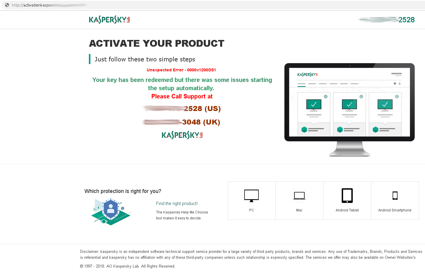 This fake Kaspersky Lab technical support website offers to resolve