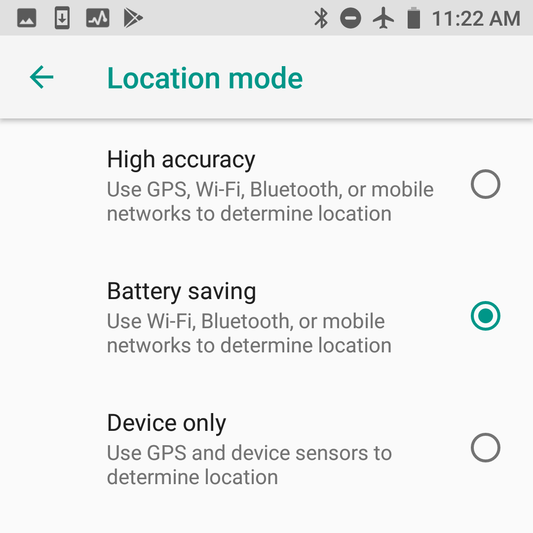 Battery saving location mode in Android 8