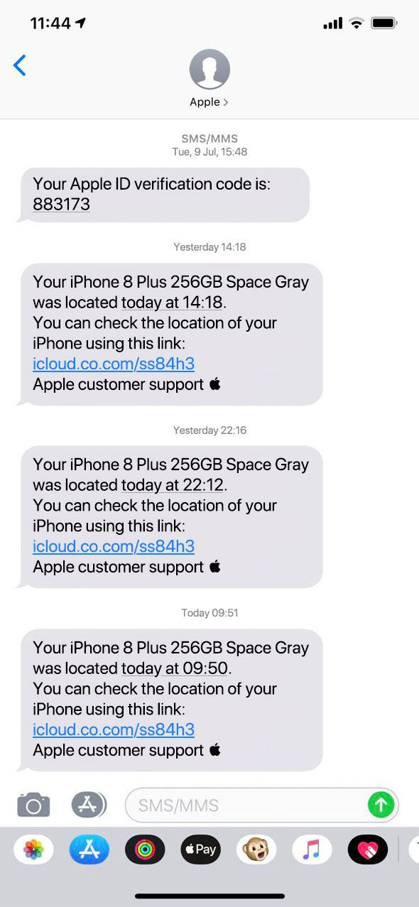 Additional phishing messages supposedly from Find My iPhone