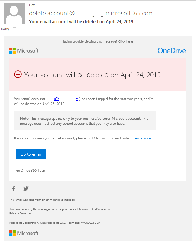 Example of a phishing letter warning of impending account deletion