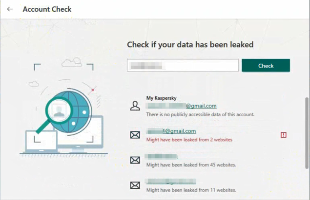 The Account Check feature lets you know if data associated with your e-mail addresses is leaked online