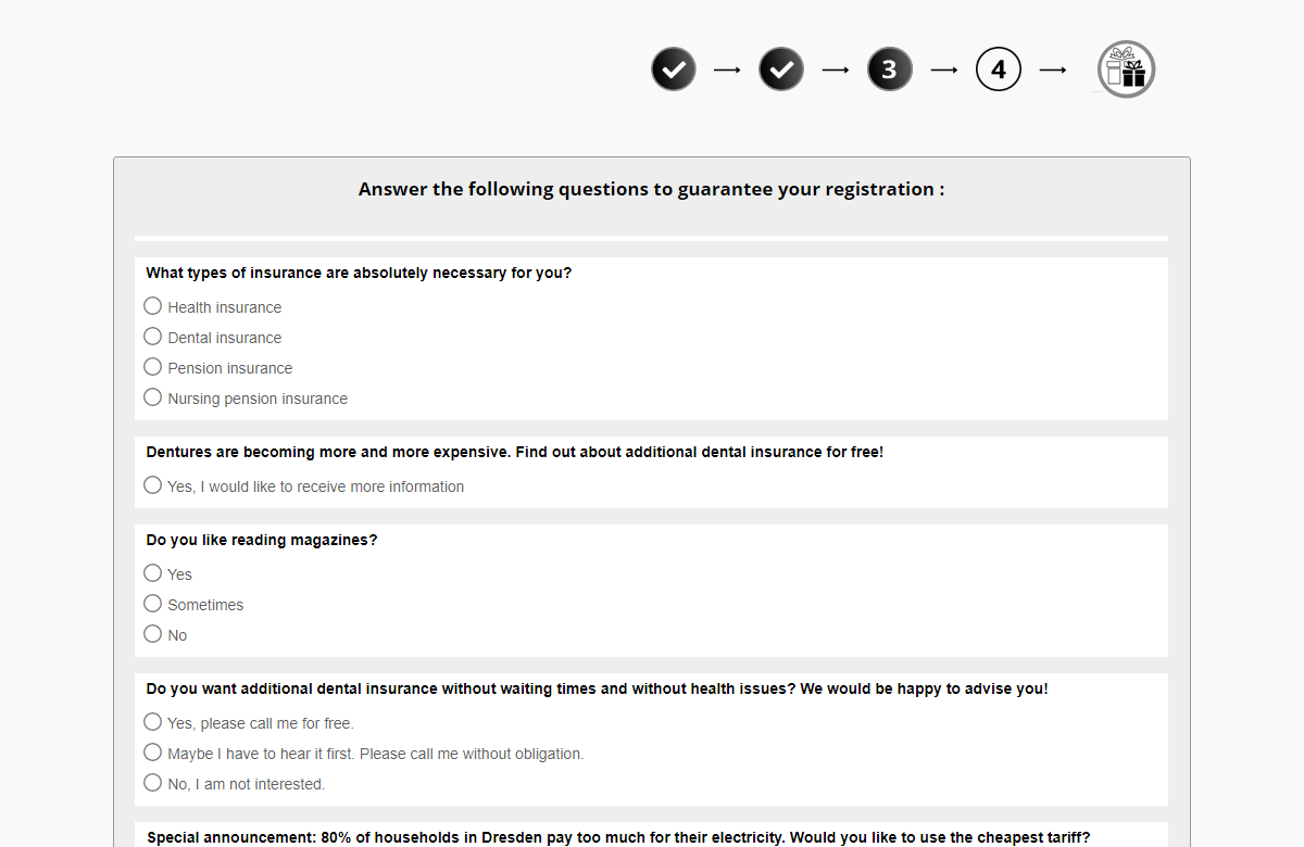 Example of a survey used by scammers