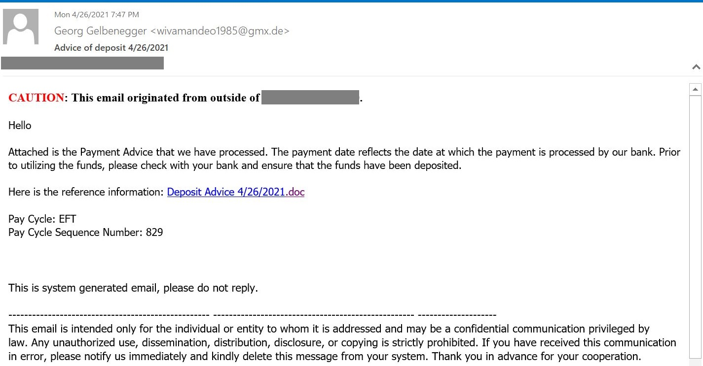 A phishing letter with a Google Docs link