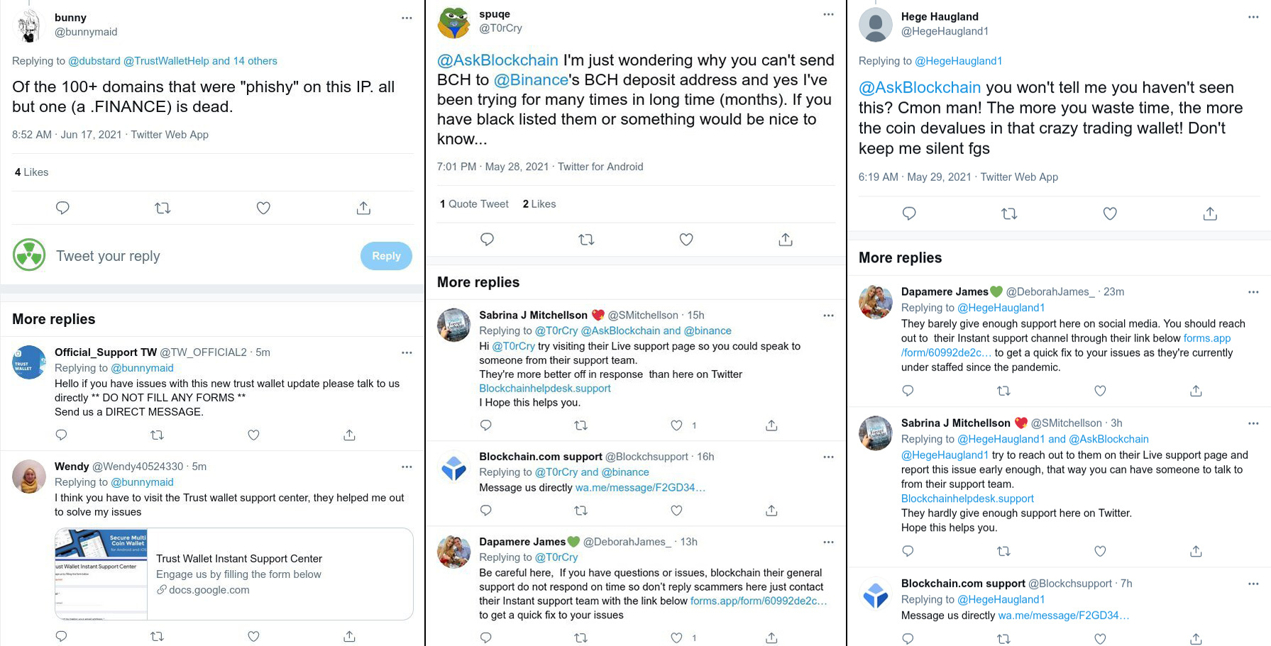 Scammers trying to mimic Twitter brand accounts of Blockchain and Trustwallet and luring users to DMs, or pretending to be helpful users who post (fake) links to support sites. Screenshots by @Malwarehunterteam