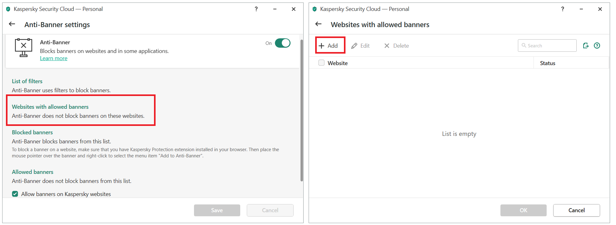 Adding a banner to the allowlist in Kaspersky Security Cloud