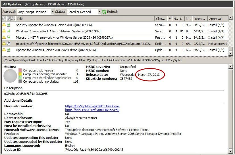 Security Week 40: suspicious Windows7 update