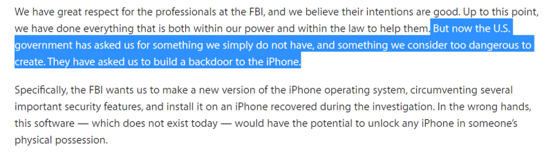 What Apple thinks of FBI's request