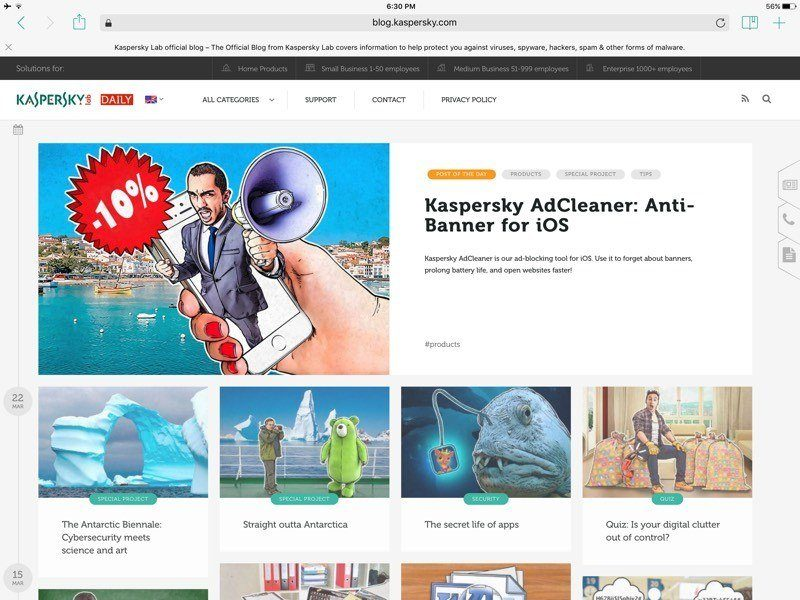 Kaspersky Safe Browser for iOS interface and design