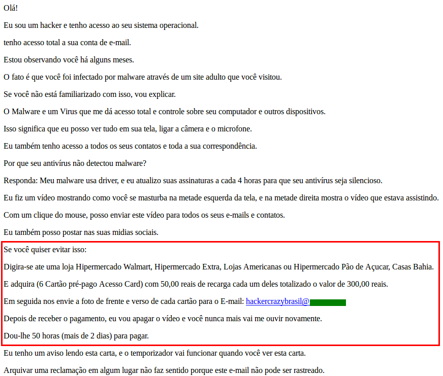 Sextortion e-mail demanding a ransom in the form of prepaid cards