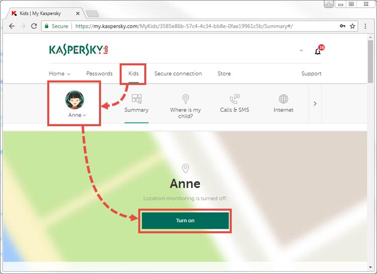 Activating location monitoring in Kaspersky Safe Kids using My Kaspersky