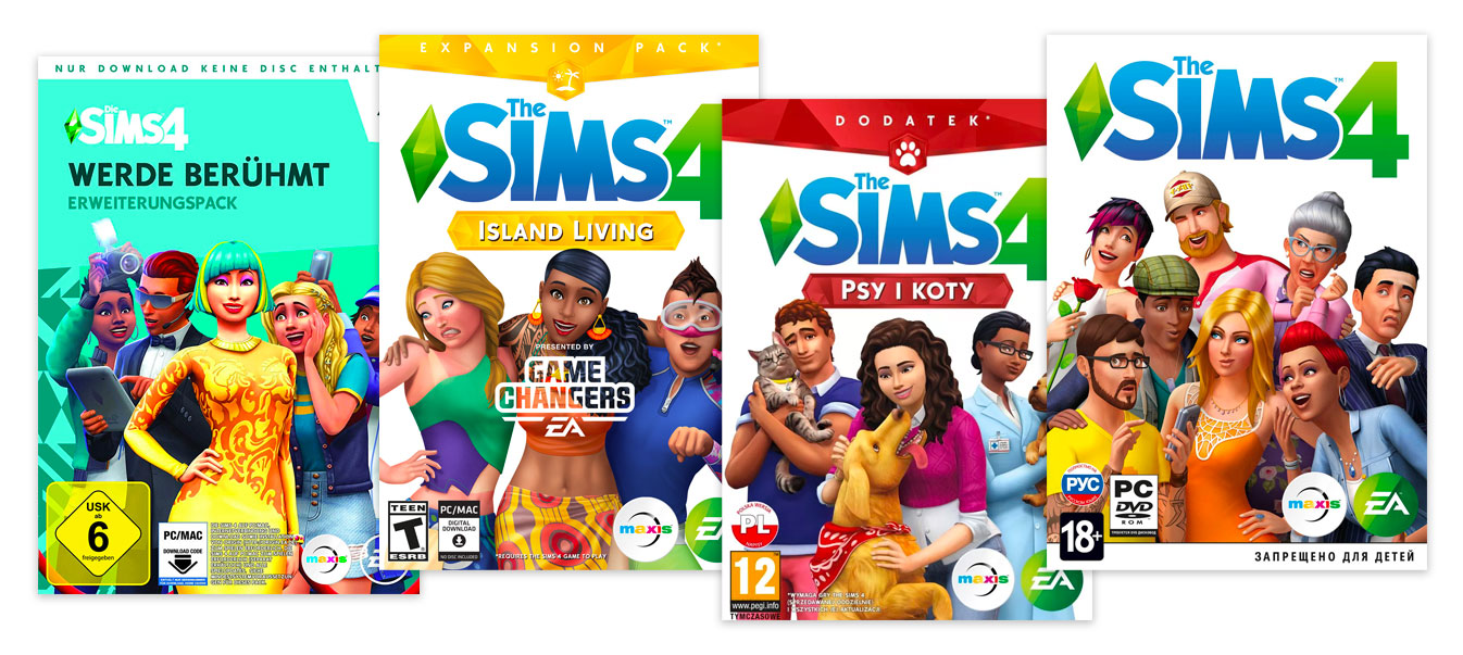 Different age ratings of The Sims 4 video game: from 6+ in German USK to T and 12+ in ESRB and PEGI respectively and even 18+ in Russian RARS